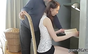 Cute schoolgirl was tempted and fucked by their way elderly teacher