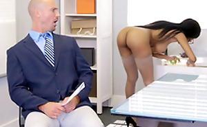 Brittney White gets on the phone with her employee's join in matrimony while seducing him